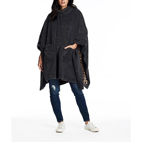 Coldesina Sherpa Poncho - Charcoal with Red and White Stripe