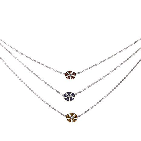 "Colleen Lopez 0.40ctw Multigem Flower Layered 18"" Necklace"