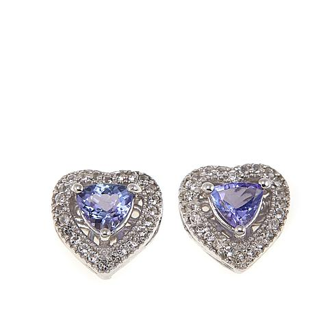 Colleen Lopez 1.18ctw Tanzanite and White Topaz Heart Stud Earrings