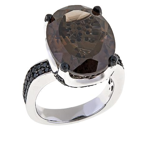 Colleen Lopez 12.50ctw Smoky Quartz & Black Spinel Ring