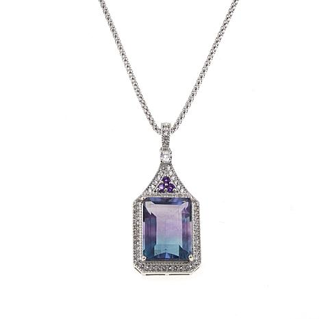 """Colleen Lopez 13.70ctw Bicolor Fluorite and Gem Pendant with 18"""" Chain"""