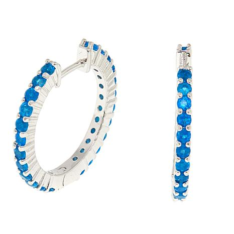 Colleen Lopez 1.44ctw Neon Blue Apatite Hoop Earrings