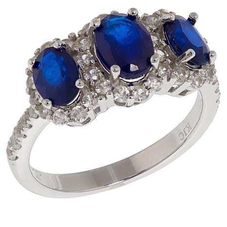 Colleen Lopez 1.53ctw Blue Spinel and White Zircon 3-Stone Ring