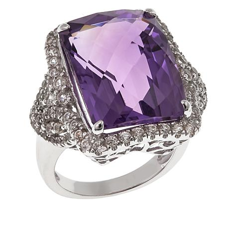Colleen Lopez 15.53ctw Checkerboard-Cut Amethyst and White Zircon Ring