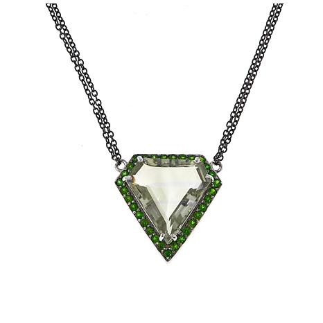 """Colleen Lopez 15.87ctw Prasiolite and Chrome Diopside 16-3/4"""" Necklace"""