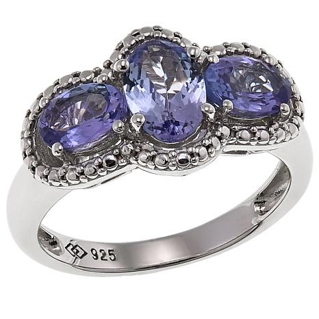 Colleen Lopez 1.6ctw Oval Purple Tanzanite 3-Stone Ring