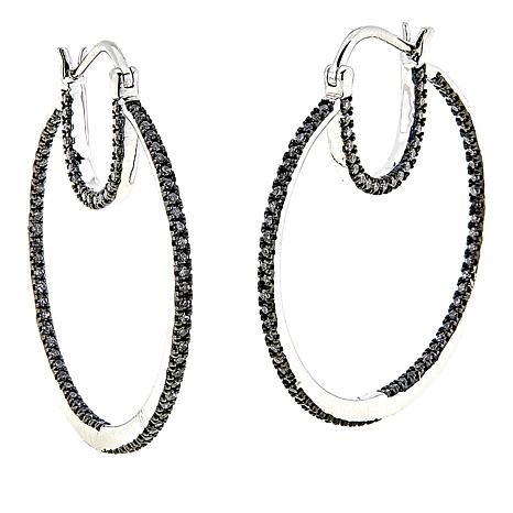 Colleen Lopez 1ctw Cashmere Gray Diamond Sterling Silver Hoop Earrings