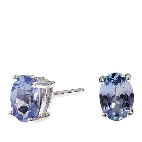 Colleen Lopez 1ctw Oval Tanzanite Sterling Silver Stud Earrings