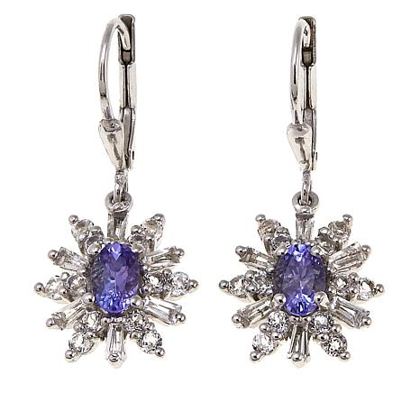Colleen Lopez 2.43ctw Tanzanite and White Topaz Drop Earrings
