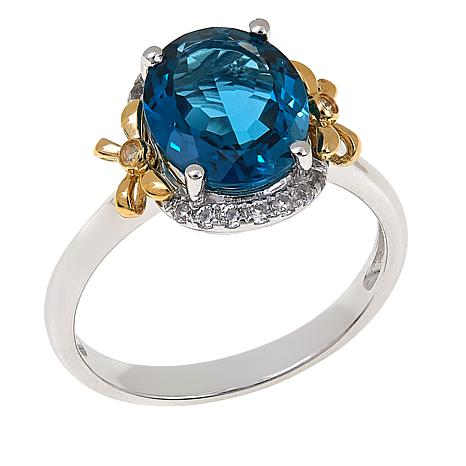 """Colleen Lopez 2.81ctw London Blue Topaz and White Topaz """"Bow"""" Ring"""