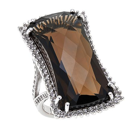 Colleen Lopez 32.11ctw Smoky Quartz & White Topaz Ring
