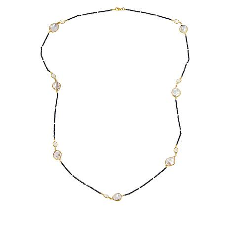 """Colleen Lopez 36"""" Cultured Pearl and Multi-Gemstone Beaded Necklace"""