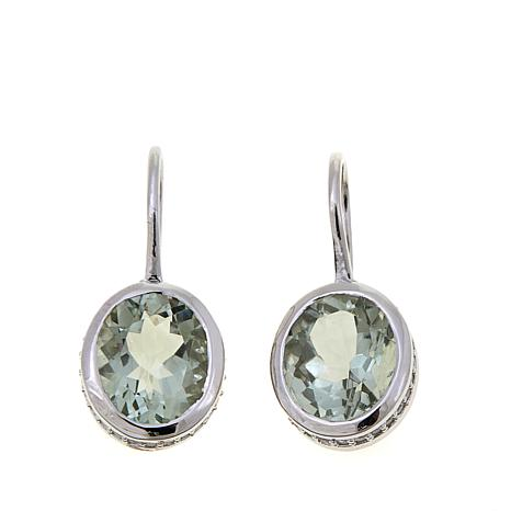 Colleen Lopez 6.54ctw Oval Prasiolite Drop Earrings
