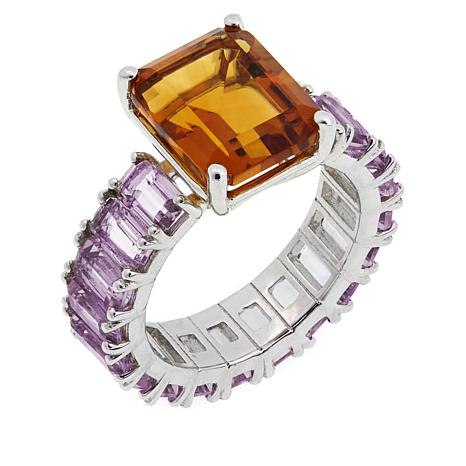 Colleen Lopez 8.34ctw Madeira Citrine and Amethyst Band Ring