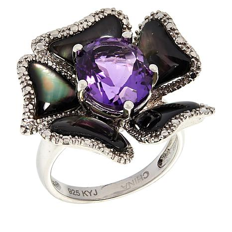 Colleen Lopez Amethyst and Black Mother-of-Pearl Ring