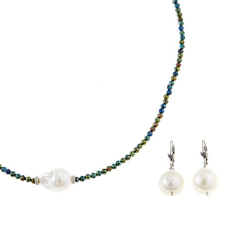 Colleen Lopez Baroque Cultured Pearl and Spinel 2-piece Jewelry Set