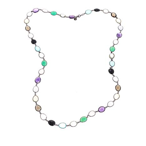 "Colleen Lopez Bezel-Set Multigemstone Sterling Silver 36"" Necklace"