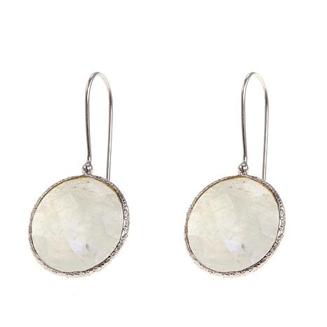 Colleen Lopez Bezel-Set Round Gem Sterling Silver Drop Earrings