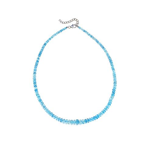 "Colleen Lopez Blue Aquamarine Faceted Bead 19"" Necklace"