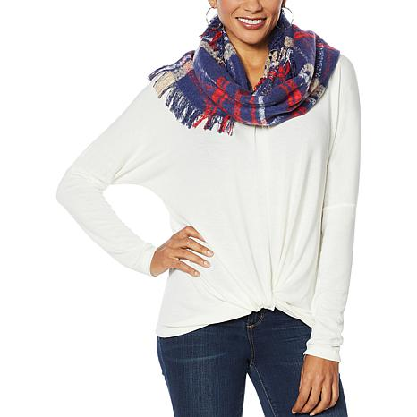 Colleen Lopez Drop-Shoulder Sweater Top with Plaid Scarf