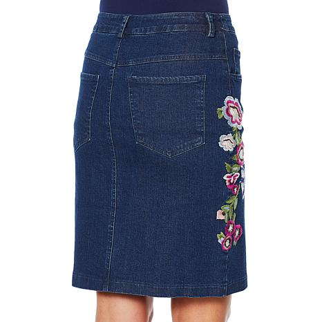 6440a86064 Colleen Lopez Embroidered Stretch Denim Skirt - 8842119 | HSN