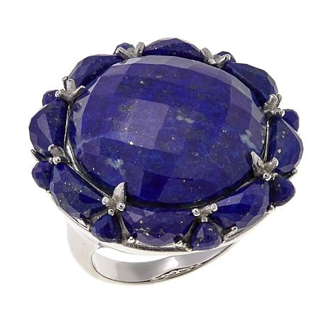 Colleen Lopez Faceted Lapis Sterling Silver Ring
