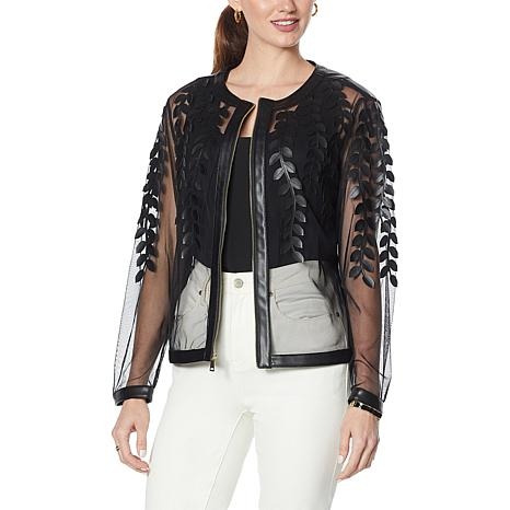 Colleen Lopez Faux Leather Leaf and Mesh Jacket