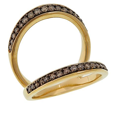 Colleen Lopez Gold-Plated 0.5ctw Colored Diamond Negative Space Ring
