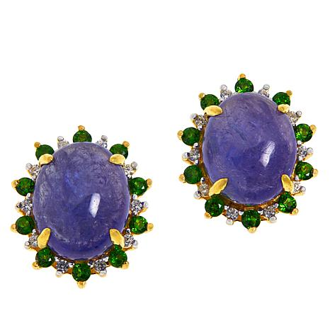 Colleen Lopez Gold-Plated Tanzanite, Chrome Diopside & Zircon Earrings