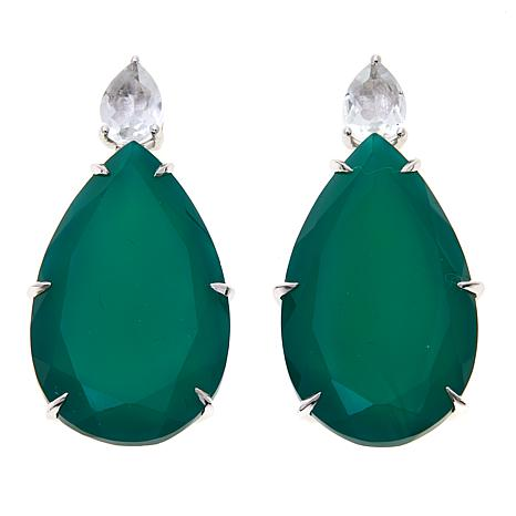 Colleen Lopez Green Agate and White Topaz Drop Earrings