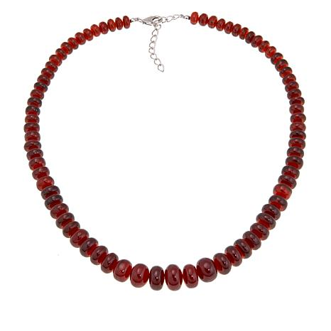 "Colleen Lopez Hessonite Garnet Graduated Bead 18"" Necklace"