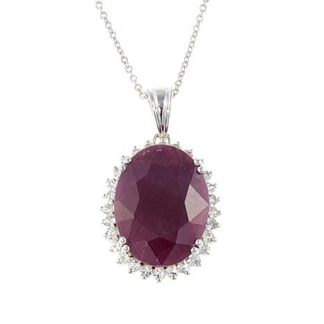 Colleen Lopez Indian Ruby and White Topaz Sterling Silver Pendant