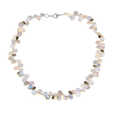 """Colleen Lopez Keshi Pearl and Labradorite 32"""" Necklace"""