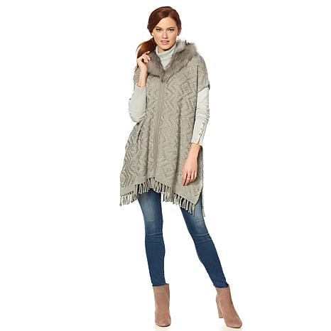Colleen Lopez Knit Zip Poncho with Faux Fur Collar