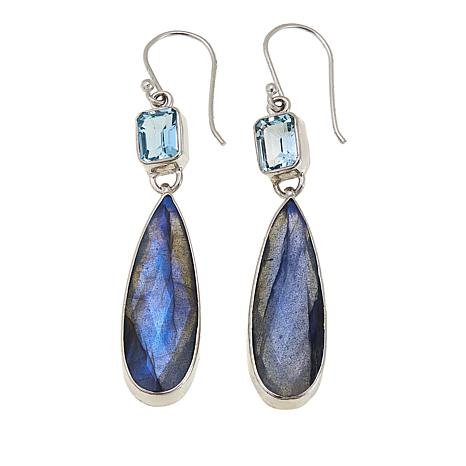 Colleen Lopez Labradorite and Blue Topaz Sterling Silver Drop Earrings