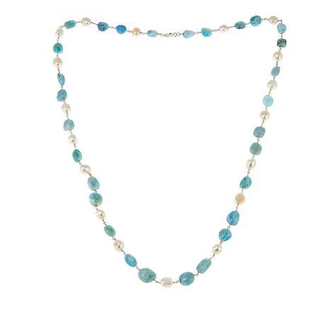 "Colleen Lopez Larimar and Cultured Pearl Sterling Silver 30"" Necklace"