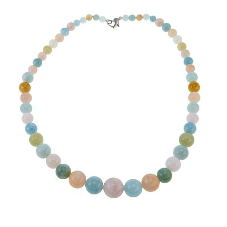 """Colleen Lopez Multi Color Beryl Bead 19-1/2"""" Sterling Silver Necklace"""
