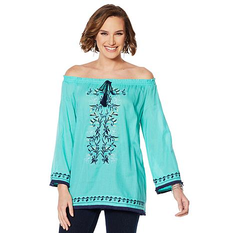 Colleen Lopez Off-Shoulder Embroidered Peasant Blouse