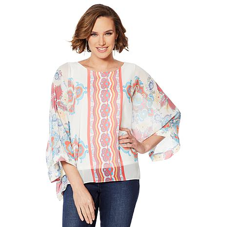 Colleen Lopez Printed Poncho Top with Tank