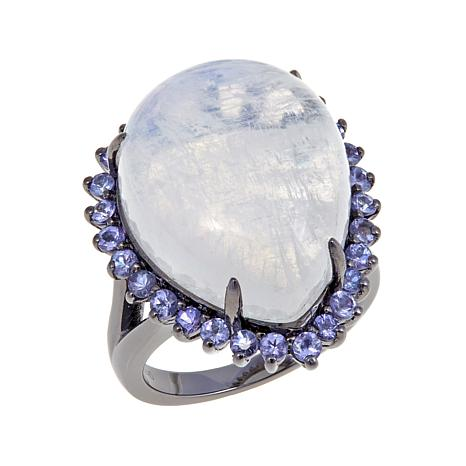 Colleen Lopez Rainbow Moonstone and Tanzanite Ring
