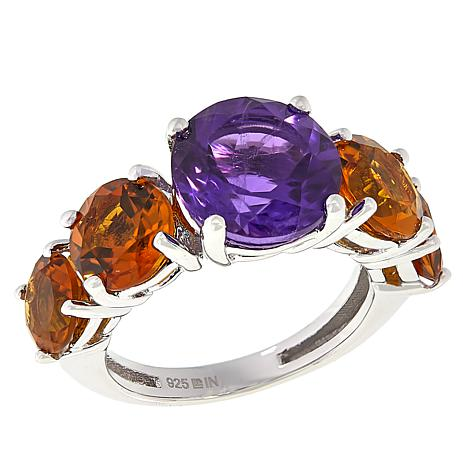 Colleen Lopez Sterling Silver African Amethyst and Gemstone Ring