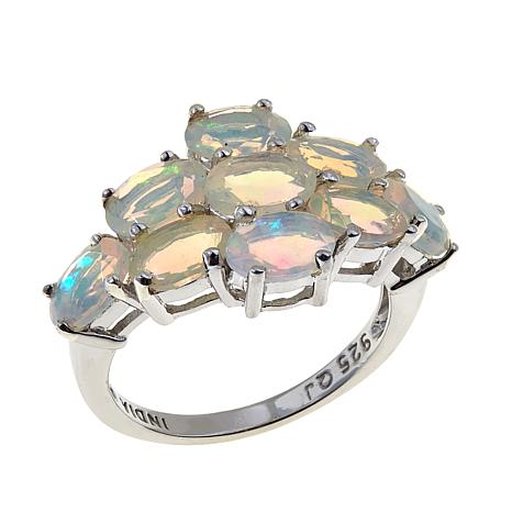 Colleen Lopez Sterling Silver Faceted Ethiopian Opal Cluster Ring