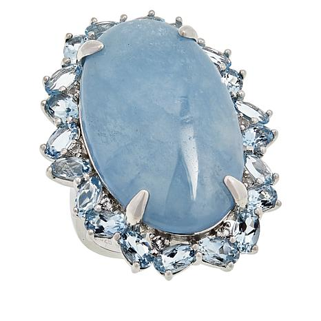 Colleen Lopez Sterling Silver Milky Aquamarine and Gemstone Ring
