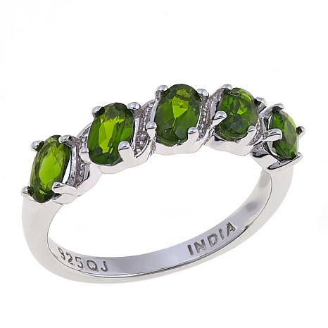 Colleen Lopez Sterling Silver Oval Chrome Diopside 5-Stone Ring