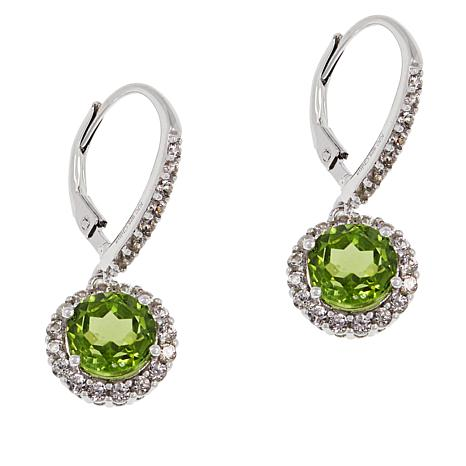 Colleen Lopez Sterling Silver Peridot and White Zircon Drop Earrings