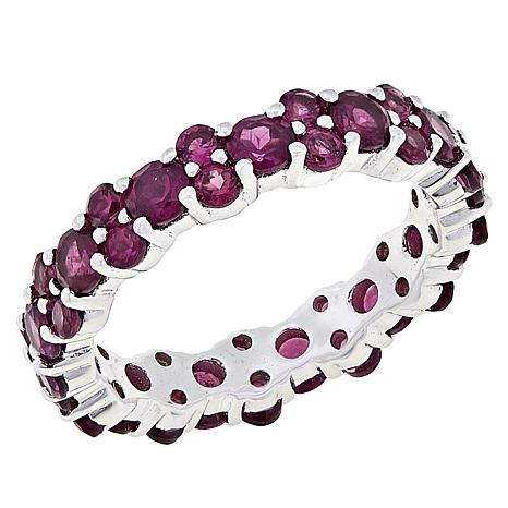 Colleen Lopez Sterling Silver Rhodolite Eternity Band Ring