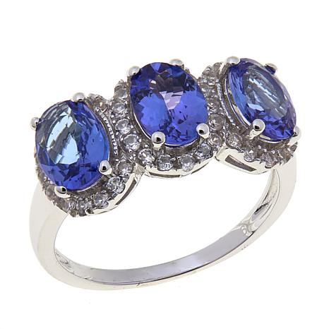 Colleen Lopez Sterling Silver Tanzanite and White Zircon 3-Stone Ring