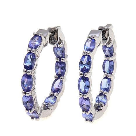 Colleen Lopez Sterling Silver Tanzanite Inside-Outside Hoop Earrings