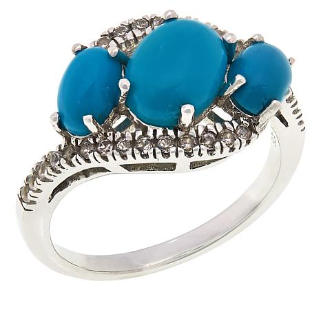 Colleen Lopez Sterling Silver Turquoise and White Zircon Ring
