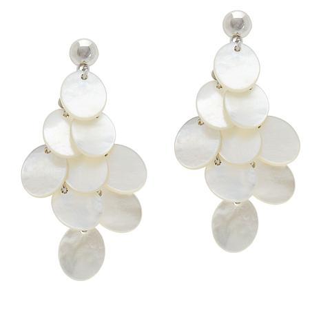 Colleen Lopez White Mother-of-Pearl Chandelier Drop Earrings